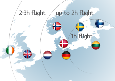 Flight times to Lithuania